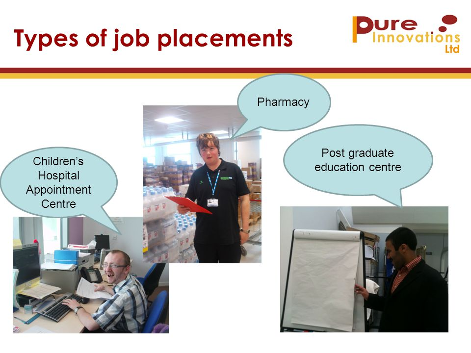 Types of job placements Children's Hospital Appointment Centre Post graduate education centre Pharmacy