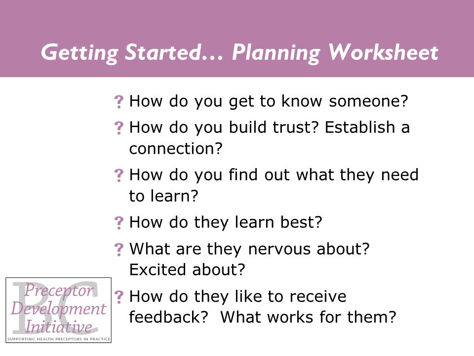 Getting Started… Planning Worksheet  How do you get to know someone.