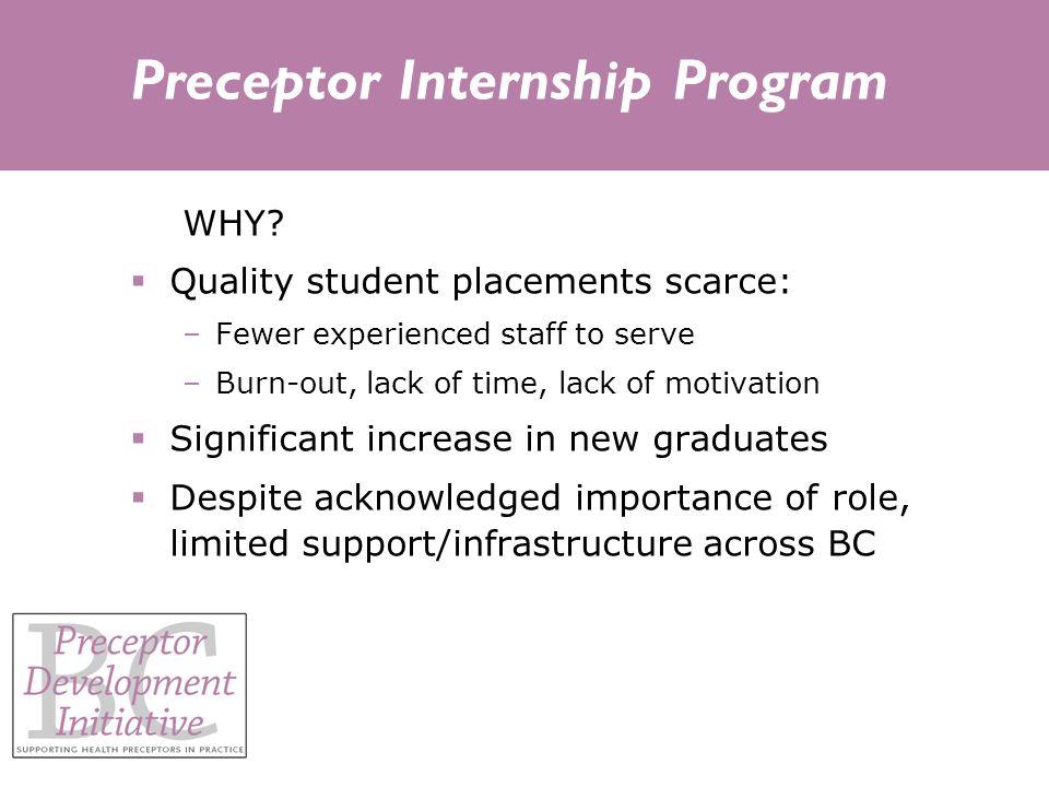 Preceptor Internship Program WHY.