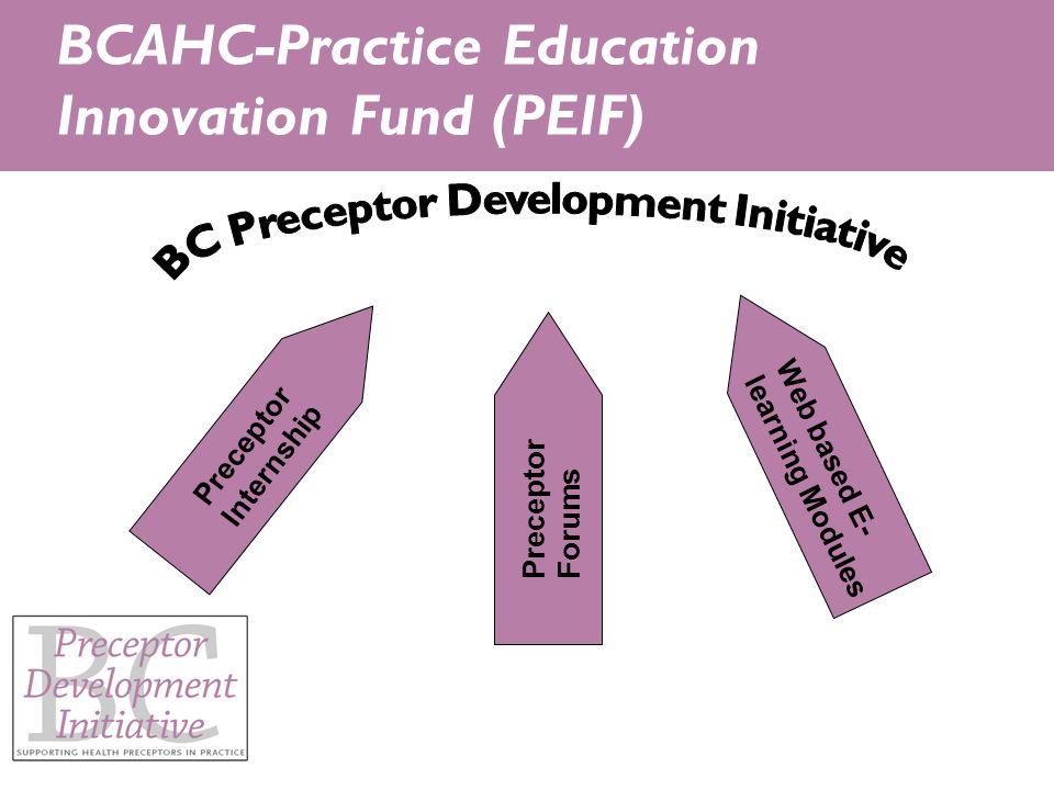Preceptor Internship Preceptor Forums Web based E- learning Modules BCAHC-Practice Education Innovation Fund (PEIF)