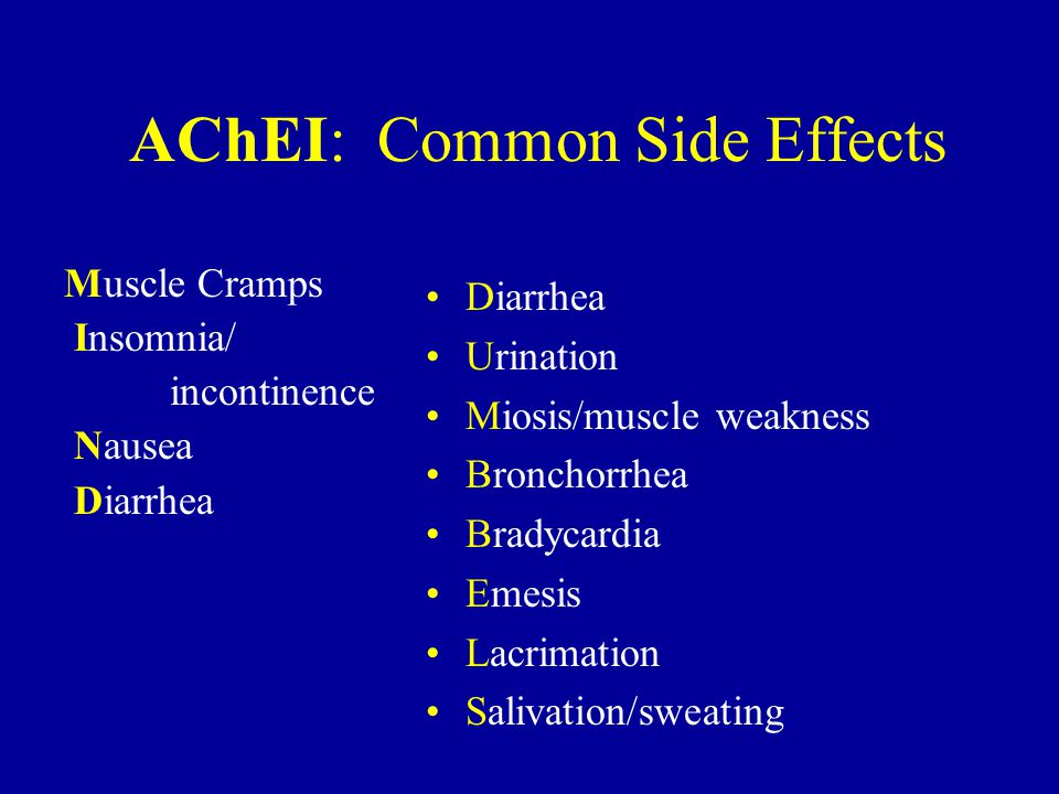 AChEI: Common Side Effects Muscle Cramps Insomnia/ incontinence Nausea Diarrhea Urination Miosis/muscle weakness Bronchorrhea Bradycardia Emesis Lacrimation Salivation/sweating