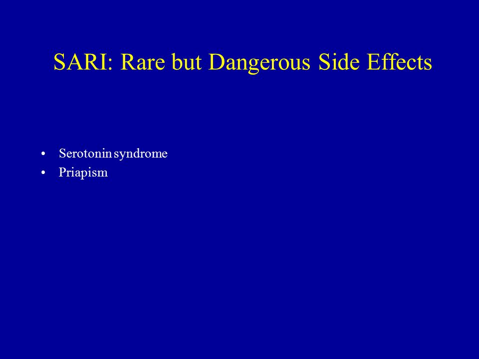 SARI: Rare but Dangerous Side Effects Serotonin syndrome Priapism