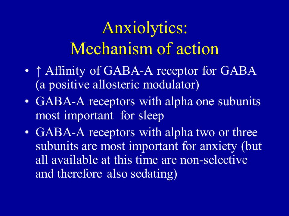 Anxiolytics: Mechanism of action ↑ Affinity of GABA-A receptor for GABA (a positive allosteric modulator) GABA-A receptors with alpha one subunits most important for sleep GABA-A receptors with alpha two or three subunits are most important for anxiety (but all available at this time are non-selective and therefore also sedating)
