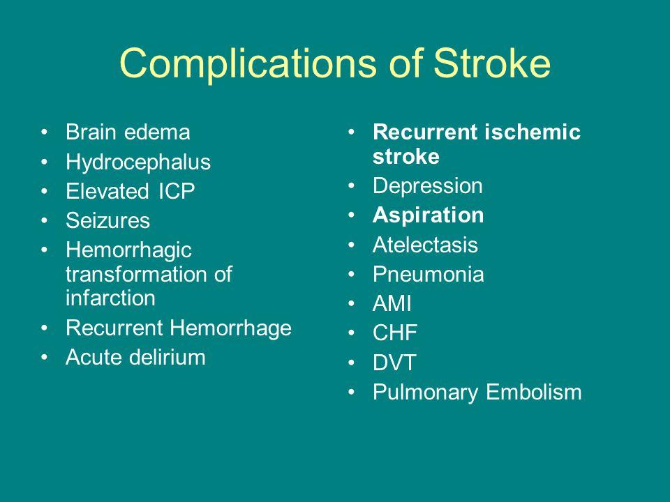 Complications of Stroke Brain edema Hydrocephalus Elevated ICP Seizures Hemorrhagic transformation of infarction Recurrent Hemorrhage Acute delirium R