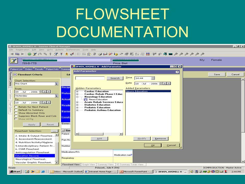 FLOWSHEET DOCUMENTATION