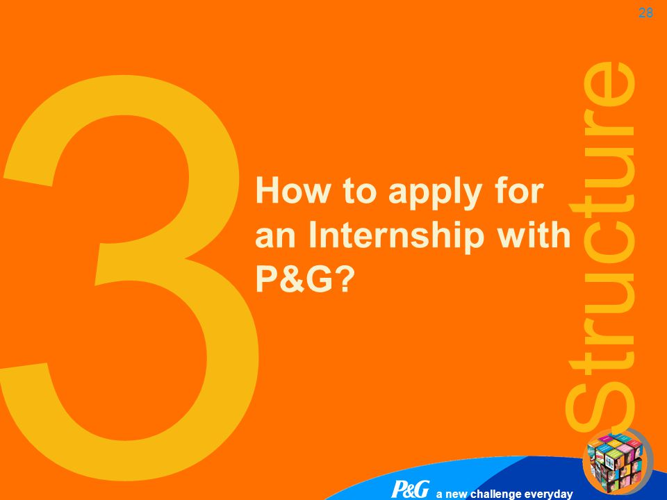 a new challenge everyday 28 3 How to apply for an Internship with P&G? Structure