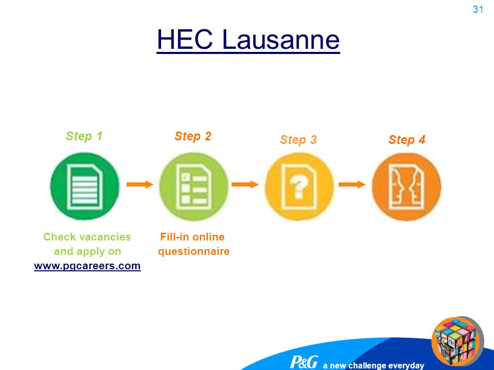 a new challenge everyday 31 HEC Lausanne Step 1Step 2 Step 3Step 4 Check vacancies and apply on www.pgcareers.com Fill-in online questionnaire