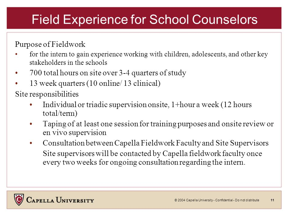 © 2004 Capella University - Confidential - Do not distribute11 Field Experience for School Counselors Purpose of Fieldwork for the intern to gain experience working with children, adolescents, and other key stakeholders in the schools 700 total hours on site over 3-4 quarters of study 13 week quarters (10 online/ 13 clinical) Site responsibilities Individual or triadic supervision onsite, 1+hour a week (12 hours total/term) Taping of at least one session for training purposes and onsite review or en vivo supervision Consultation between Capella Fieldwork Faculty and Site Supervisors Site supervisors will be contacted by Capella fieldwork faculty once every two weeks for ongoing consultation regarding the intern.