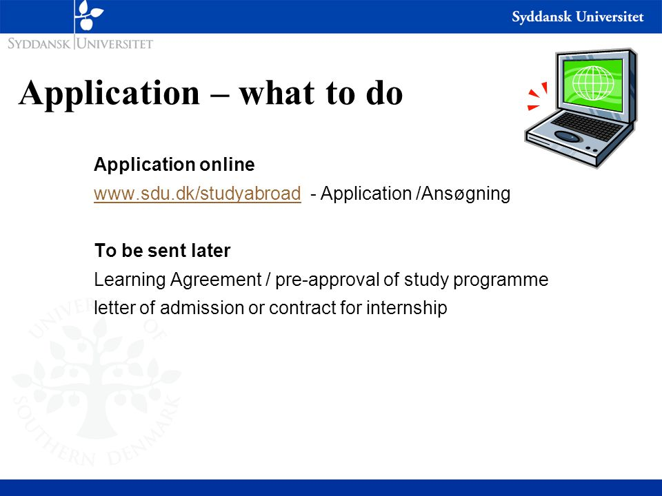 Application – what to do Application online www.sdu.dk/studyabroadwww.sdu.dk/studyabroad - Application /Ansøgning To be sent later Learning Agreement