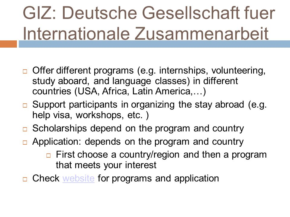 GIZ: Deutsche Gesellschaft fuer Internationale Zusammenarbeit  Offer different programs (e.g.