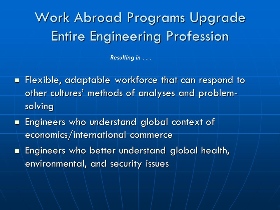 Work Abroad Programs Upgrade Entire Engineering Profession Flexible, adaptable workforce that can respond to other cultures' methods of analyses and problem- solving Flexible, adaptable workforce that can respond to other cultures' methods of analyses and problem- solving Engineers who understand global context of economics/international commerce Engineers who understand global context of economics/international commerce Engineers who better understand global health, environmental, and security issues Engineers who better understand global health, environmental, and security issues Resulting in...