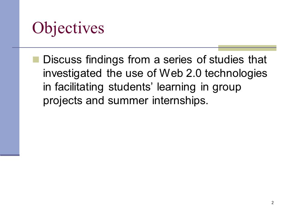 Objectives Discuss findings from a series of studies that investigated the use of Web 2.0 technologies in facilitating students' learning in group projects and summer internships.