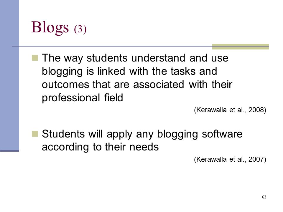 The way students understand and use blogging is linked with the tasks and outcomes that are associated with their professional field (Kerawalla et al., 2008) Students will apply any blogging software according to their needs (Kerawalla et al., 2007) Blogs (3) 63