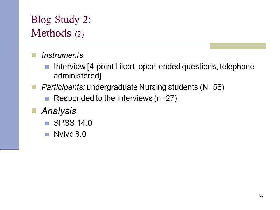 Blog Study 2: Methods (2) Instruments Interview [4-point Likert, open-ended questions, telephone administered] Participants: undergraduate Nursing stu