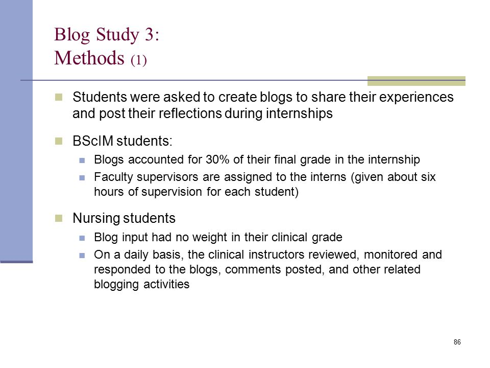 Blog Study 3: Methods (1) Students were asked to create blogs to share their experiences and post their reflections during internships BScIM students: Blogs accounted for 30% of their final grade in the internship Faculty supervisors are assigned to the interns (given about six hours of supervision for each student) Nursing students Blog input had no weight in their clinical grade On a daily basis, the clinical instructors reviewed, monitored and responded to the blogs, comments posted, and other related blogging activities 86