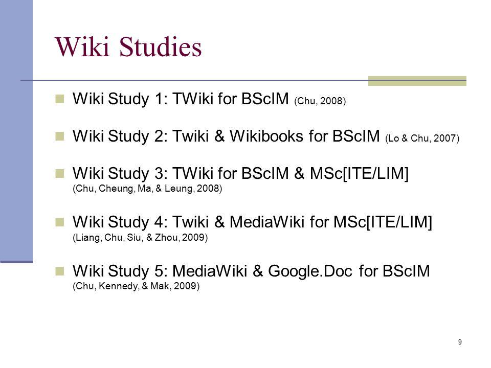 Wiki Studies Wiki Study 1: TWiki for BScIM (Chu, 2008) Wiki Study 2: Twiki & Wikibooks for BScIM (Lo & Chu, 2007) Wiki Study 3: TWiki for BScIM & MSc[ITE/LIM] (Chu, Cheung, Ma, & Leung, 2008) Wiki Study 4: Twiki & MediaWiki for MSc[ITE/LIM] (Liang, Chu, Siu, & Zhou, 2009) Wiki Study 5: MediaWiki & Google.Doc for BScIM (Chu, Kennedy, & Mak, 2009) 9