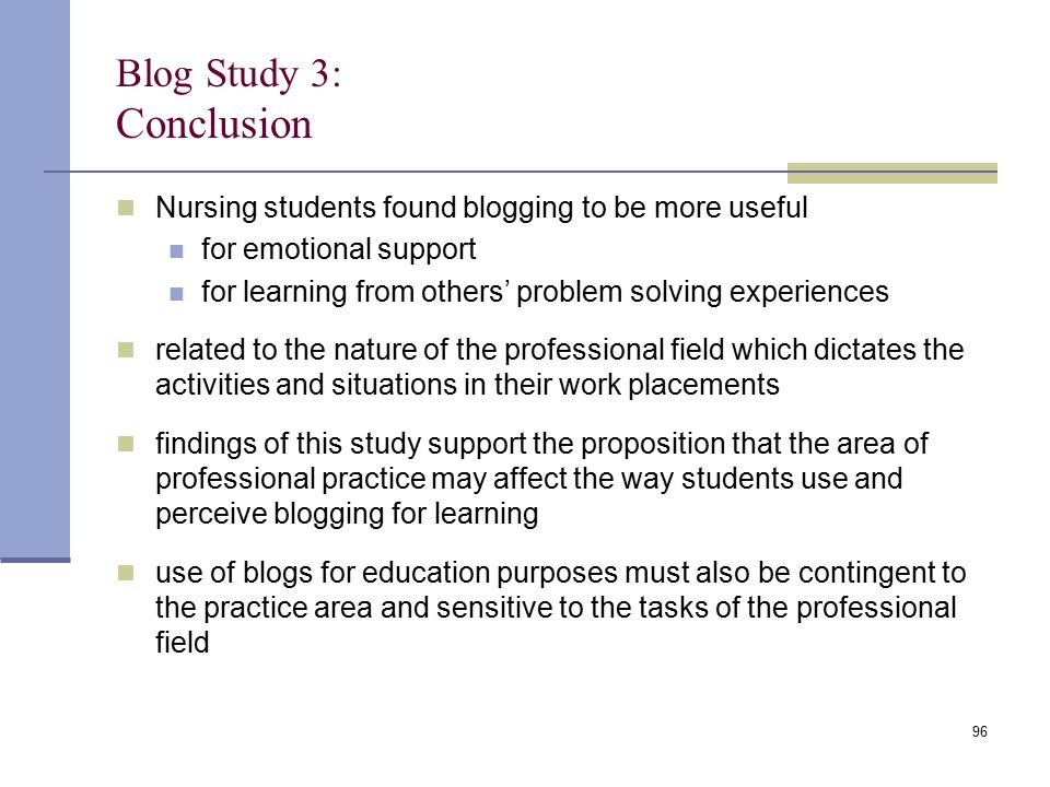 Blog Study 3: Conclusion Nursing students found blogging to be more useful for emotional support for learning from others' problem solving experiences