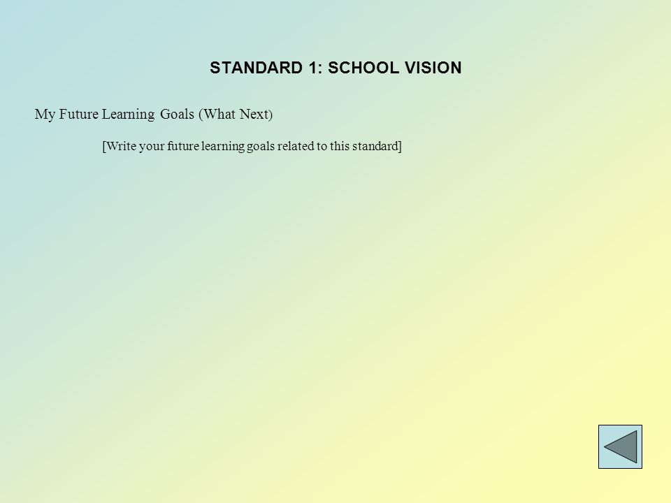 STANDARD 1: SCHOOL VISION My Future Learning Goals (What Next ) [Write your future learning goals related to this standard]
