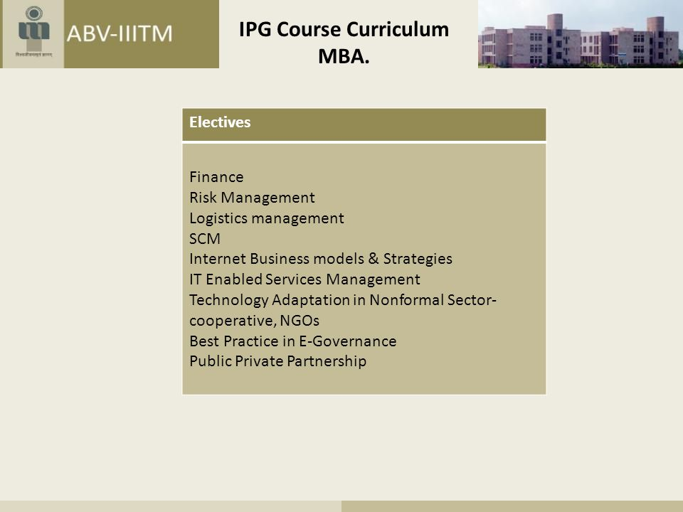 IPG Course Curriculum MBA.