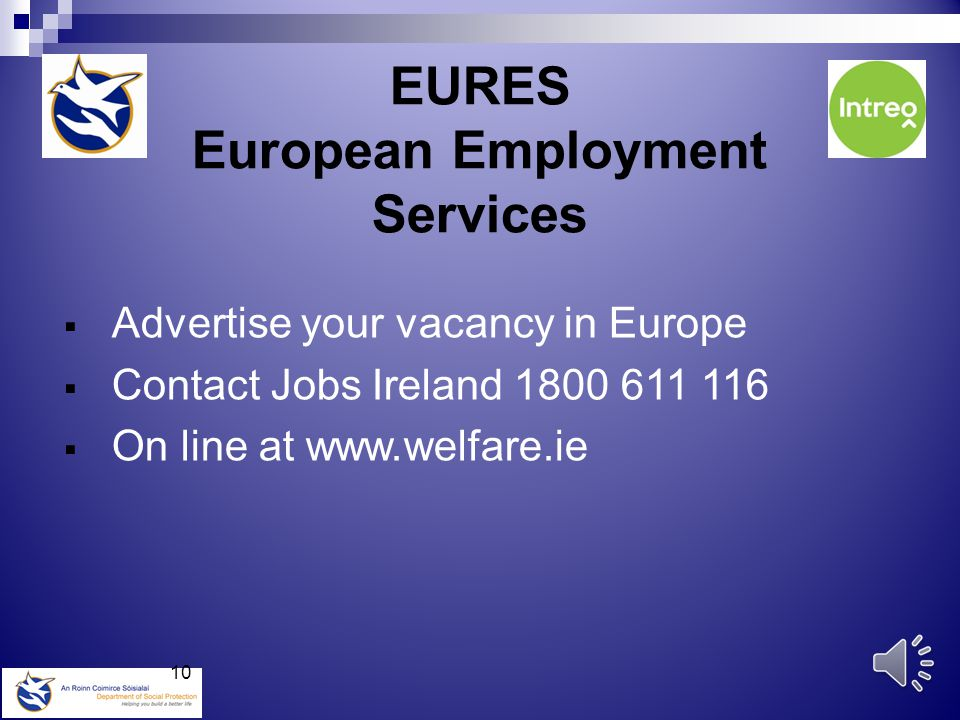 Employers link first www. welfare.ie Register a vacancy second Employers Section