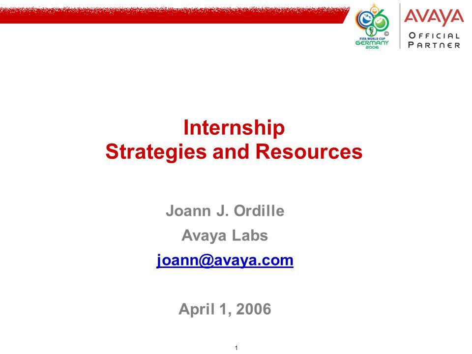 1 Joann J. Ordille Avaya Labs joann@avaya.com April 1, 2006 Internship Strategies and Resources
