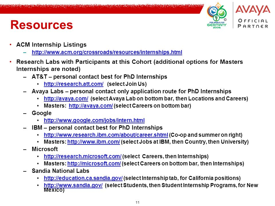 11 Resources ACM Internship Listings –http://www.acm.org/crossroads/resources/internships.htmlhttp://www.acm.org/crossroads/resources/internships.html Research Labs with Participants at this Cohort (additional options for Masters Internships are noted) –AT&T – personal contact best for PhD Internships http://research.att.com/ (select Join Us)http://research.att.com/ –Avaya Labs – personal contact only application route for PhD Internships http://avaya.com/ (select Avaya Lab on bottom bar, then Locations and Careers)http://avaya.com/ Masters: http://avaya.com/ (select Careers on bottom bar)http://avaya.com/ –Google http://www.google.com/jobs/intern.html –IBM – personal contact best for PhD Internships http://www.research.ibm.com/about/career.shtml (Co-op and summer on right)http://www.research.ibm.com/about/career.shtml Masters: http://www.ibm.com/ (select Jobs at IBM, then Country, then University)http://www.ibm.com/ –Microsoft http://research.microsoft.com/ (select Careers, then Internships)http://research.microsoft.com/ Masters: http://microsoft.com/ (select Careers on bottom bar, then Internships)http://microsoft.com/ –Sandia National Labs http://education.ca.sandia.gov/ (select Internship tab, for California positions)http://education.ca.sandia.gov/ http://www.sandia.gov/ (select Students, then Student Internship Programs, for New Mexico)http://www.sandia.gov/