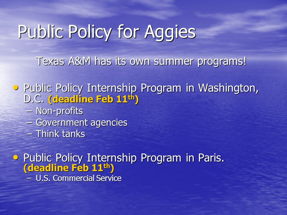Public Policy for Aggies Texas A&M has its own summer programs.