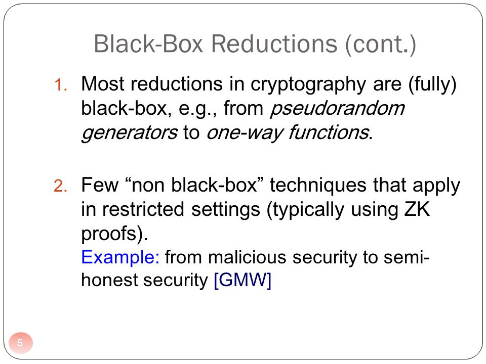 We give a black-box reduction from malicious oblivious transfer to semi-honest oblivious transfer.