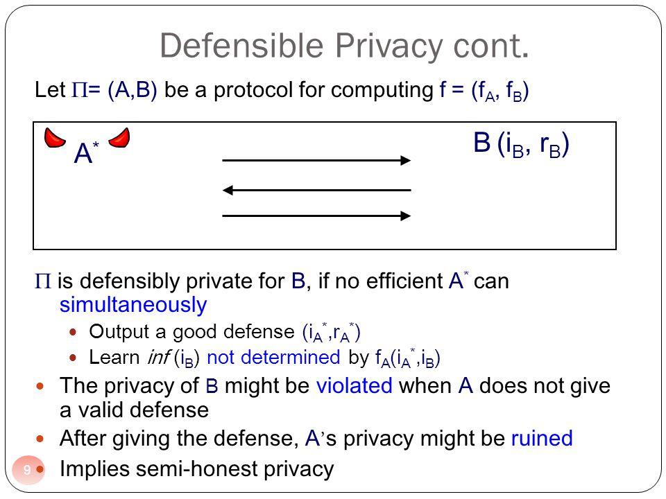Defensible Privacy cont.