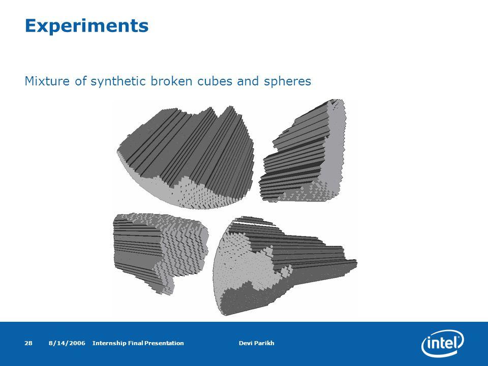 8/14/2006Internship Final PresentationDevi Parikh28 Experiments Mixture of synthetic broken cubes and spheres