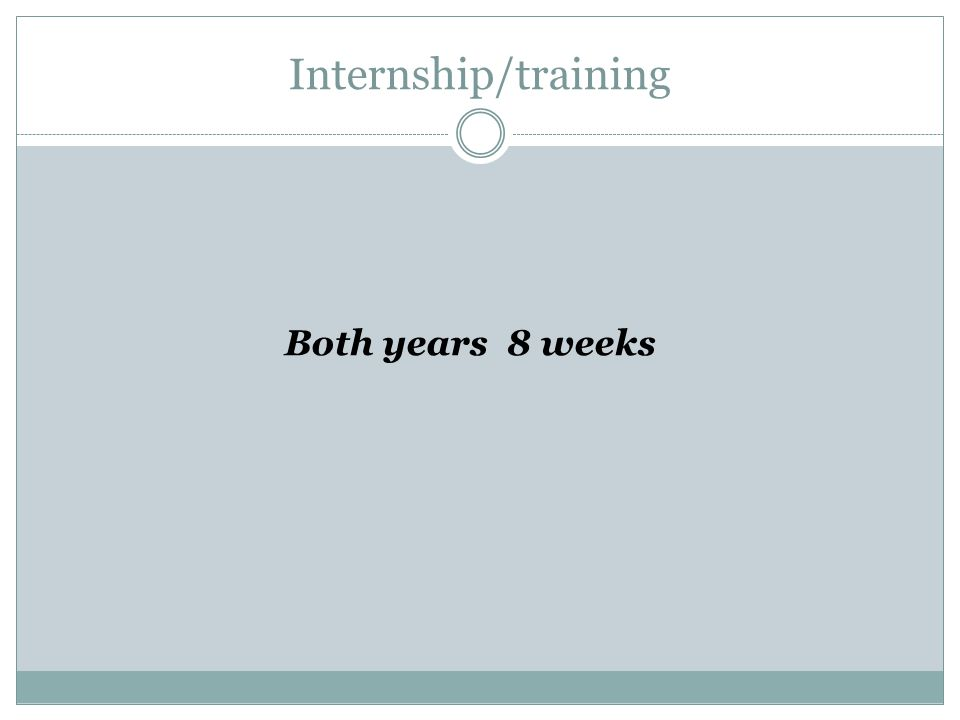 Internship/training Both years 8 weeks