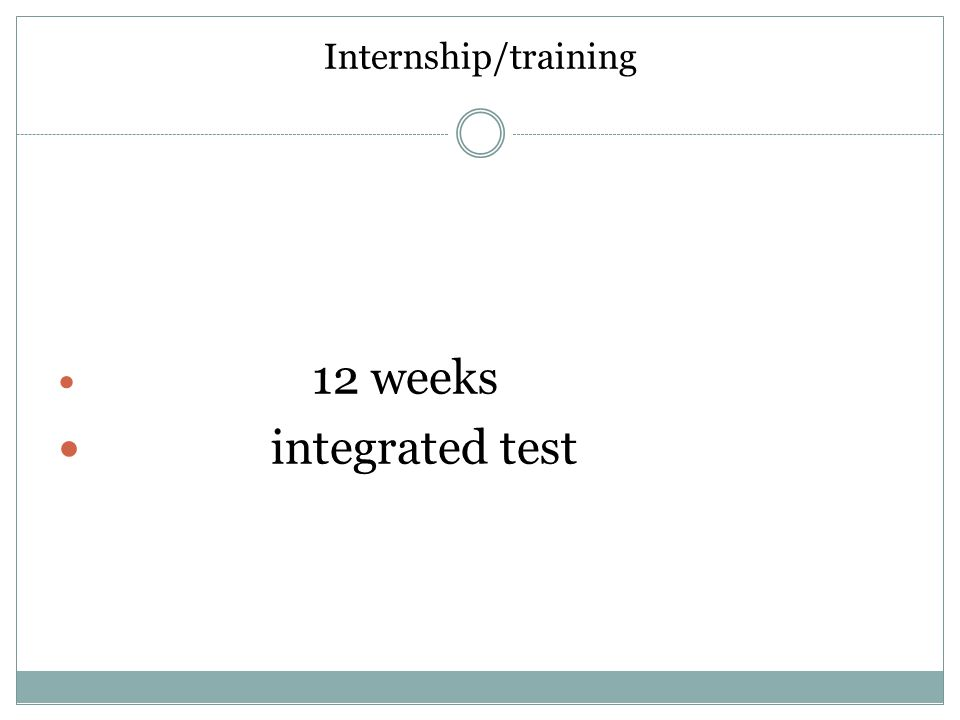 Internship/training 12 weeks integrated test