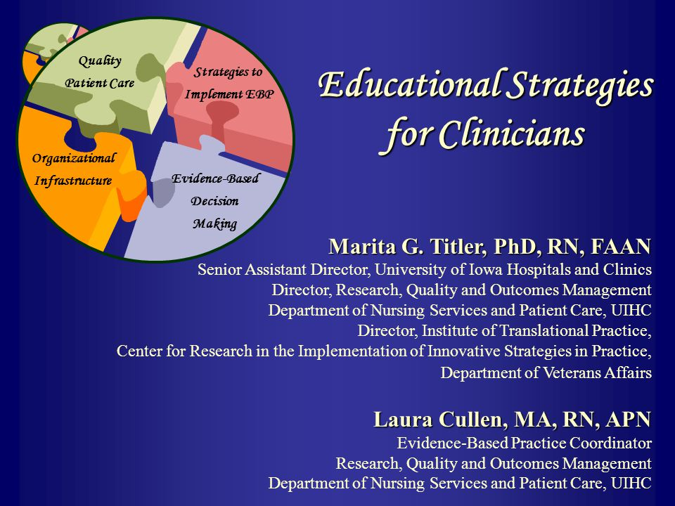Strategies to Implement EBP Evidence-Based Decision Making Organizational Infrastructure Quality Patient Care Marita G. Titler, PhD, RN, FAAN Senior A