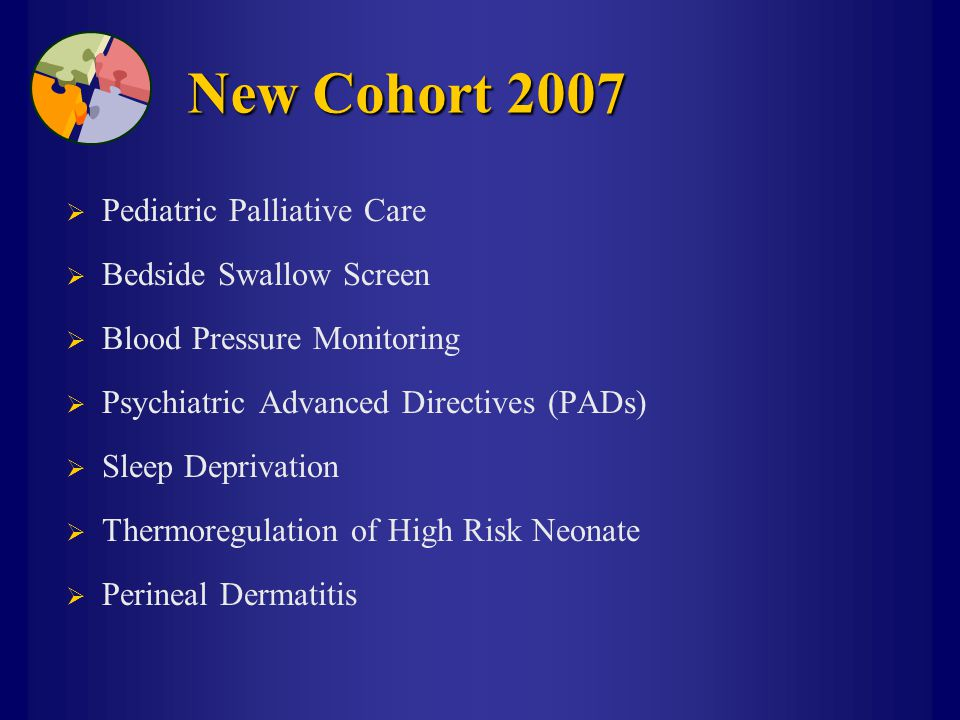 New Cohort 2007  Pediatric Palliative Care  Bedside Swallow Screen  Blood Pressure Monitoring  Psychiatric Advanced Directives (PADs)  Sleep Depr