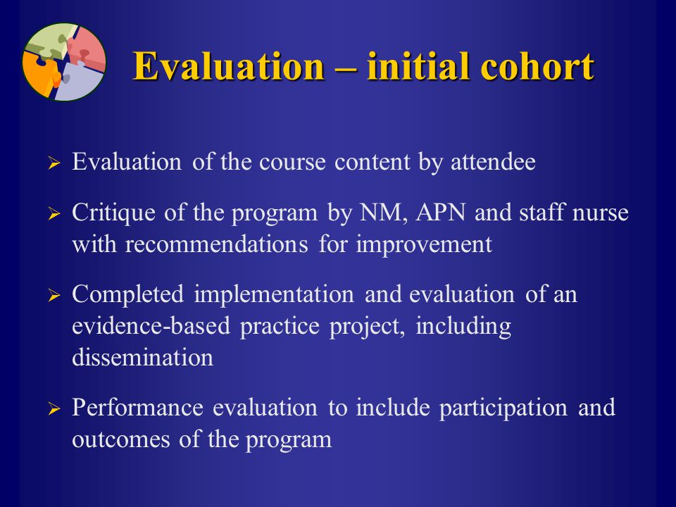 Evaluation – initial cohort  Evaluation of the course content by attendee  Critique of the program by NM, APN and staff nurse with recommendations f