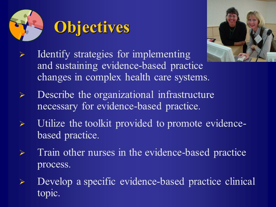 Objectives  Identify strategies for implementing and sustaining evidence-based practice changes in complex health care systems.  Describe the organi