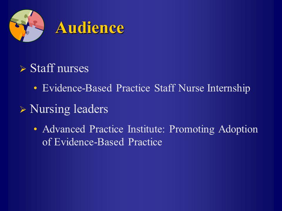 Audience  Staff nurses Evidence-Based Practice Staff Nurse Internship  Nursing leaders Advanced Practice Institute: Promoting Adoption of Evidence-Based Practice