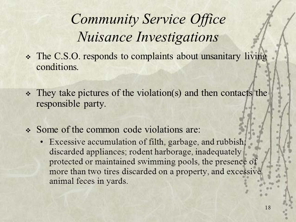 18 Community Service Office Nuisance Investigations  The C.S.O.