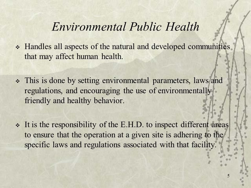 5 Environmental Public Health  Handles all aspects of the natural and developed communities that may affect human health.