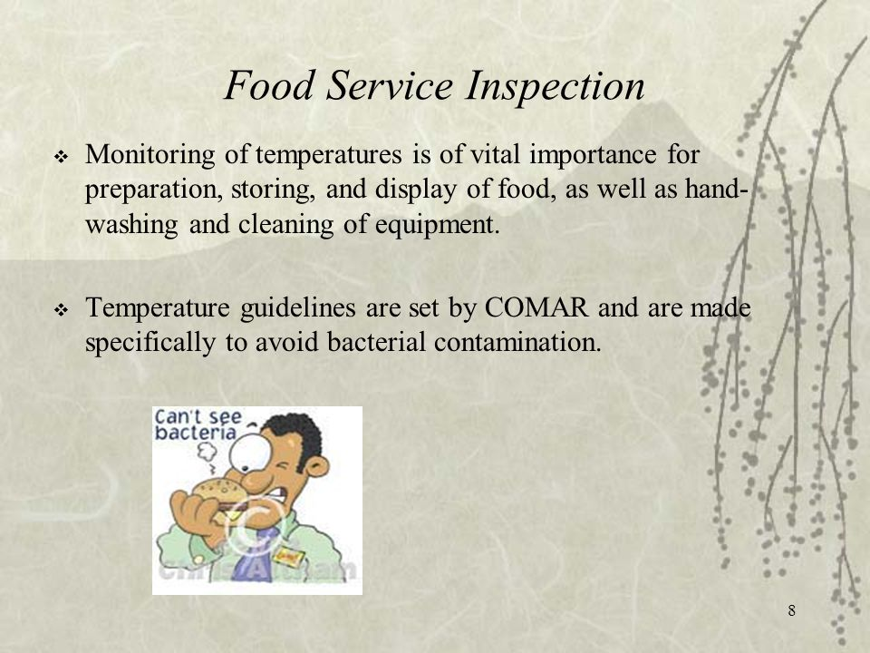 8 Food Service Inspection  Monitoring of temperatures is of vital importance for preparation, storing, and display of food, as well as hand- washing and cleaning of equipment.