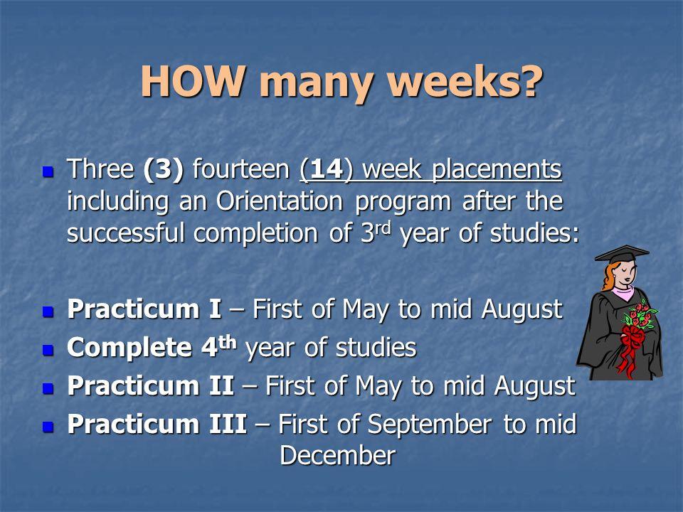 HOW many weeks.