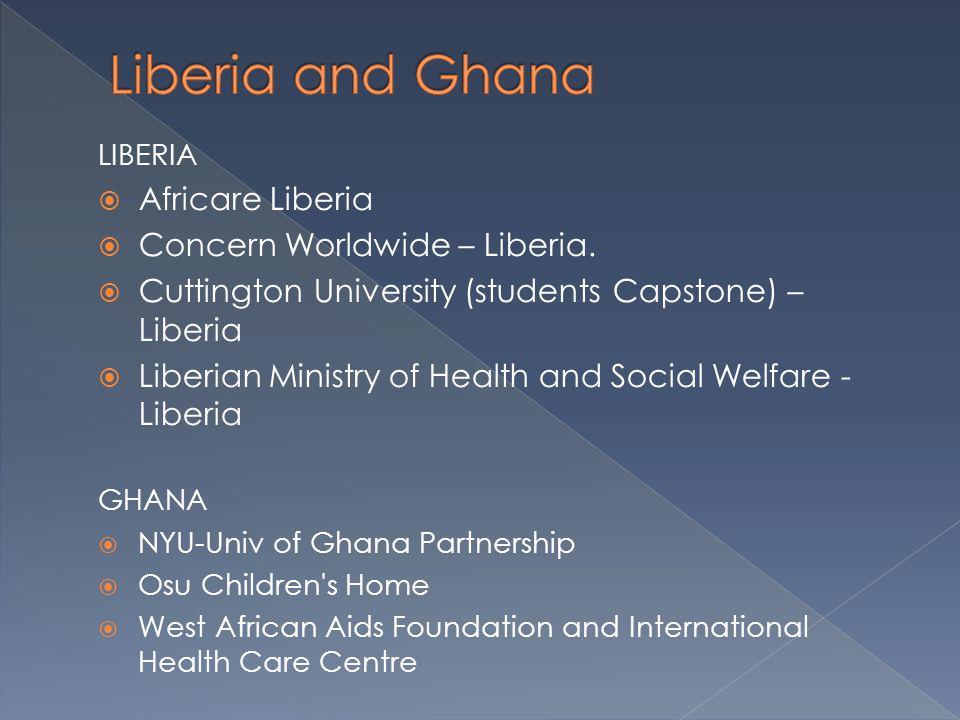 LIBERIA  Africare Liberia  Concern Worldwide – Liberia.  Cuttington University (students Capstone) – Liberia  Liberian Ministry of Health and Soci
