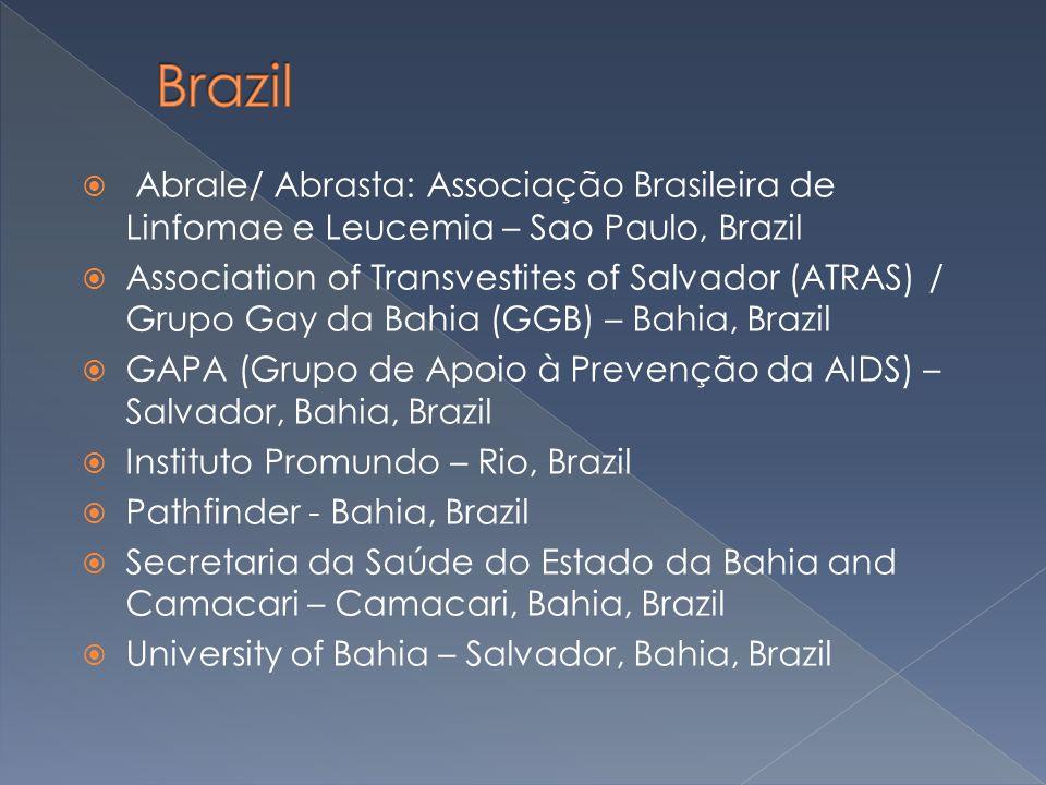  Abrale/ Abrasta: Associação Brasileira de Linfomae e Leucemia – Sao Paulo, Brazil  Association of Transvestites of Salvador (ATRAS) / Grupo Gay da