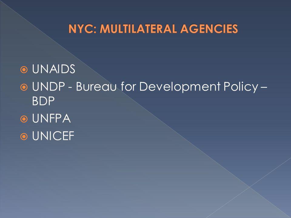  UNAIDS  UNDP - Bureau for Development Policy – BDP  UNFPA  UNICEF