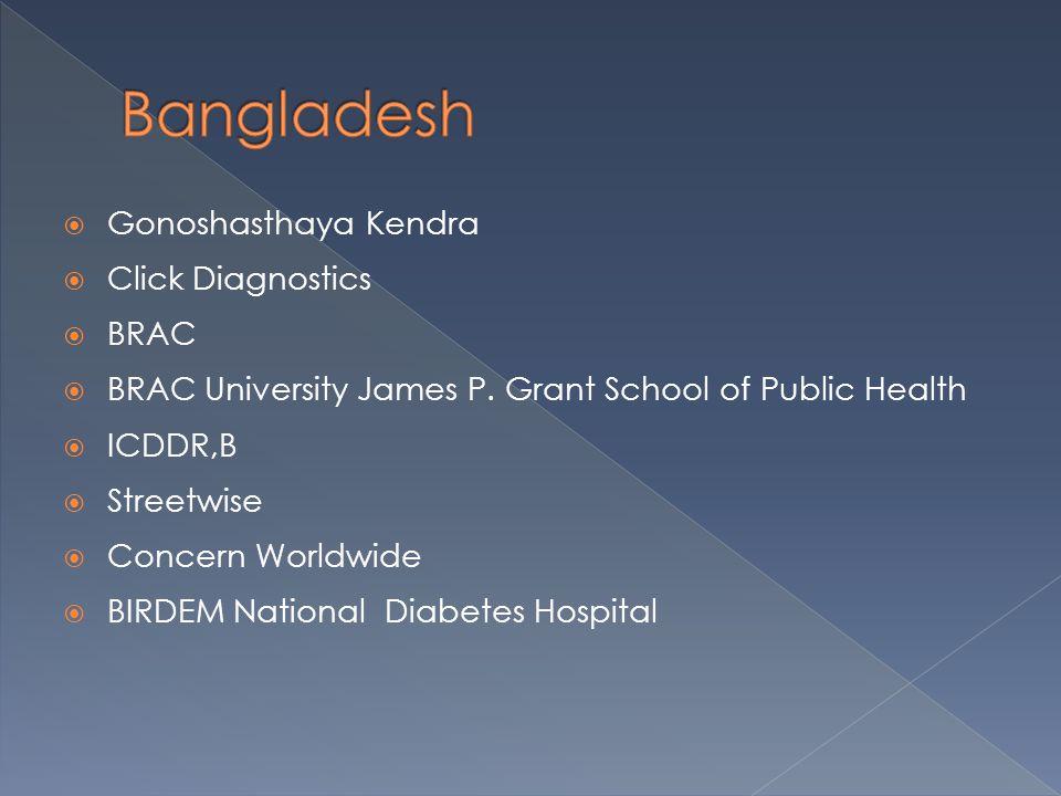  Gonoshasthaya Kendra  Click Diagnostics  BRAC  BRAC University James P. Grant School of Public Health  ICDDR,B  Streetwise  Concern Worldwide