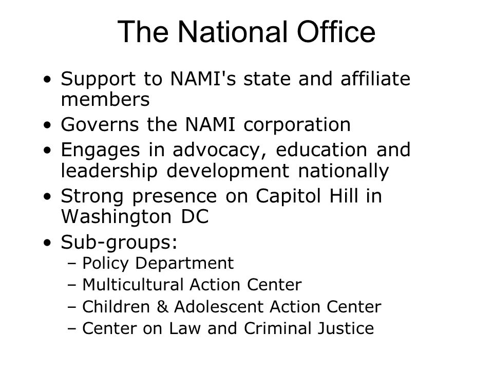The National Office Support to NAMI s state and affiliate members Governs the NAMI corporation Engages in advocacy, education and leadership development nationally Strong presence on Capitol Hill in Washington DC Sub-groups: –Policy Department –Multicultural Action Center –Children & Adolescent Action Center –Center on Law and Criminal Justice
