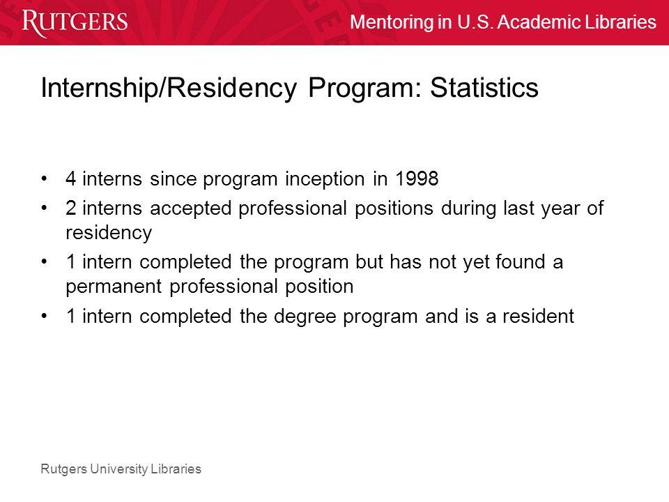 Rutgers University Libraries Mentoring in U.S. Academic Libraries Internship/Residency Program: Statistics 4 interns since program inception in 1998 2