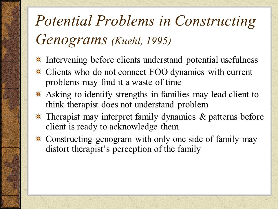 Potential Problems in Constructing Genograms (Kuehl, 1995) Intervening before clients understand potential usefulness Clients who do not connect FOO dynamics with current problems may find it a waste of time Asking to identify strengths in families may lead client to think therapist does not understand problem Therapist may interpret family dynamics & patterns before client is ready to acknowledge them Constructing genogram with only one side of family may distort therapist's perception of the family