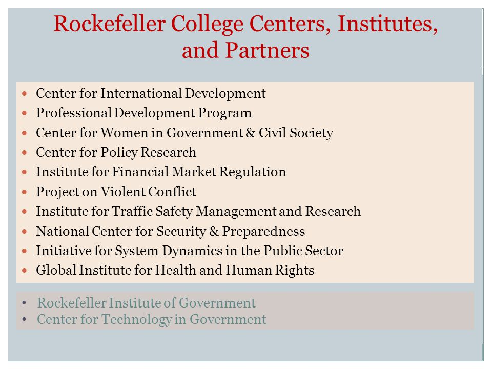 Rockefeller College Centers, Institutes, and Partners Center for International Development Professional Development Program Center for Women in Government & Civil Society Center for Policy Research Institute for Financial Market Regulation Project on Violent Conflict Institute for Traffic Safety Management and Research National Center for Security & Preparedness Initiative for System Dynamics in the Public Sector Global Institute for Health and Human Rights Rockefeller Institute of Government Center for Technology in Government