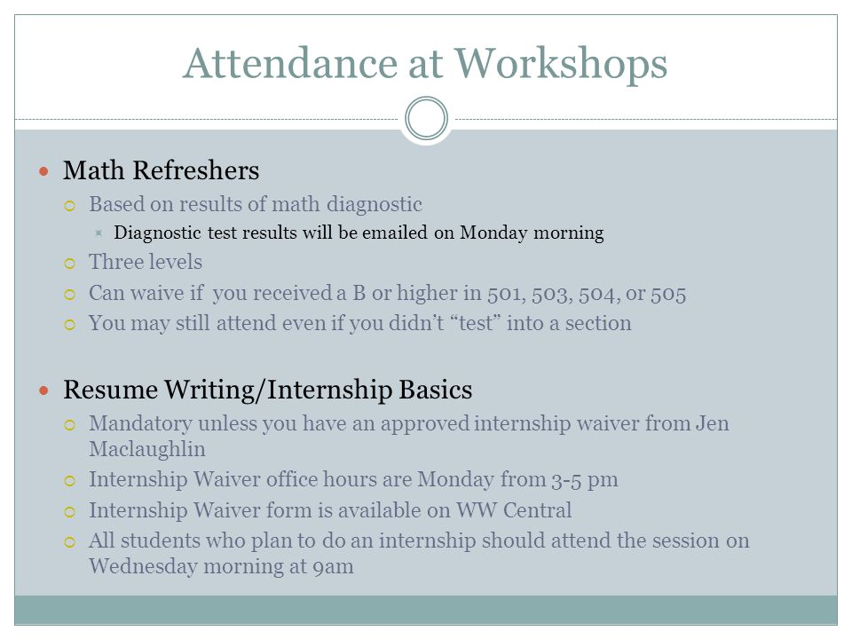 Attendance at Workshops Excel  READ THE YELLOW MEMO IN YOUR FOLDER.